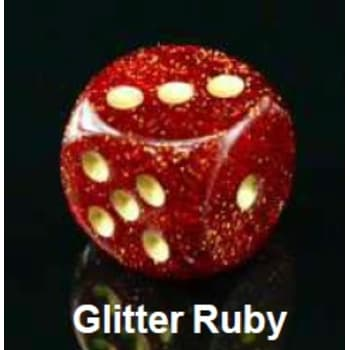 Poly 7 Dice Set: Glitter Ruby w/Gold