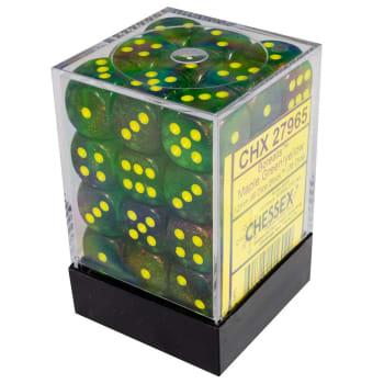 12mm d6 Dice Block: Borealis Maple Green w/Yellow