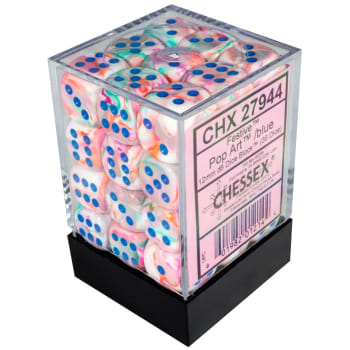 12mm d6 Dice Block: Festive Pop-Art w/Blue