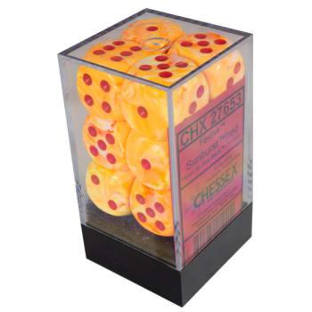 16mm d6 Dice Block: Festive Sunburst w/Red