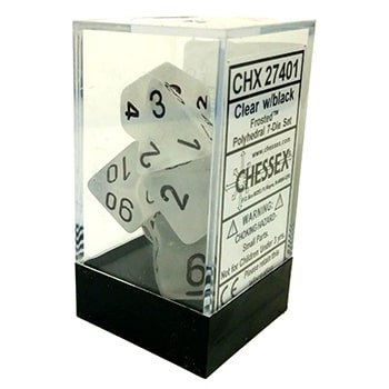 Poly 7 Dice Set: Frosted Clear w/Black