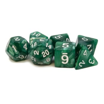 Poly 7 Dice Set: Acrylic - Green/white