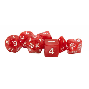Poly 7 Dice Set: Acrylic - Red/white