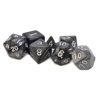 Poly 7 Dice Set: Acrylic - Silver/white