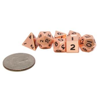 Poly 7 Dice Set: Mini Metal - Pearl/Copper