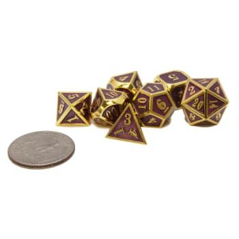 Poly 7 Dice Set: Mini Metal - Gold/Purple