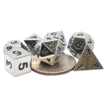 Poly 7 Dice Set: Mini Metal - Silver