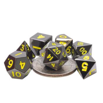 Poly 7 Dice Set: Mini Metal - Black w/Yellow