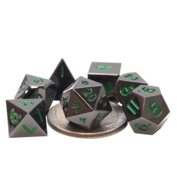 Poly 7 Dice Set: Mini Metal - Black w/ Green