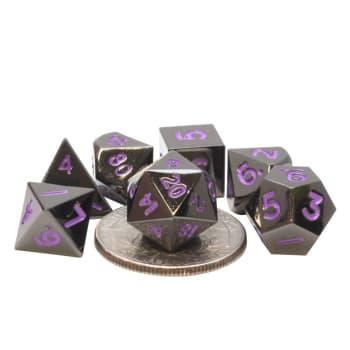 Poly 7 Dice Set: Mini Metal - Black w/ Purple