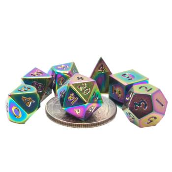 Poly 7 Dice Set: Mini Metal - Rainbow