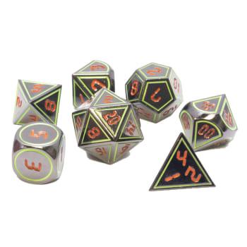 Poly 7 Dice Set: Metal - Gunmetal w/ Orange & Green