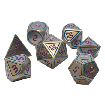 Poly 7 Dice Set: Metal - Silver w/ Purple & Blue