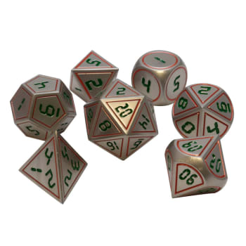 Poly 7 Dice Set: Metal - Silver w/ Green & Orange
