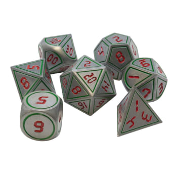 Poly 7 Dice Set: Metal - Silver w/ Red & Green
