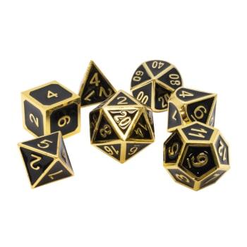 Poly 7 Dice Set: Metal - Black w/ Gold