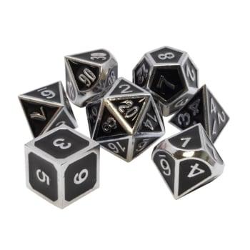 Poly 7 Dice Set: Metal - Black w/ Silver