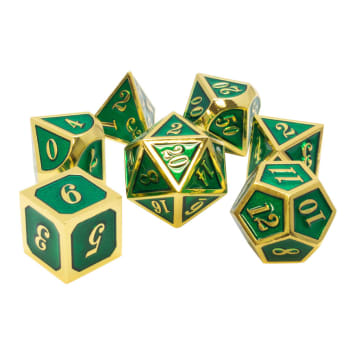 Poly 7 Dice Set: Metal - Green w/ Gold
