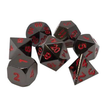 Poly 7 Dice Set: Metal - Gunmetal w/ Red