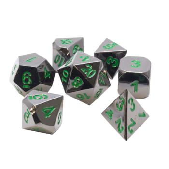 Poly 7 Dice Set: Metal - Gunmetal w/ Green