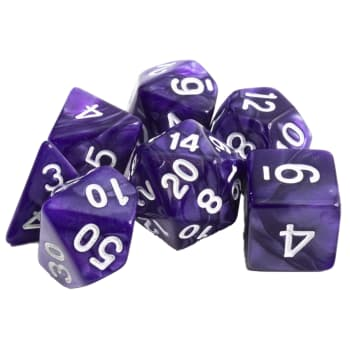Poly 7 Dice Set: Marble - Purple w/ White