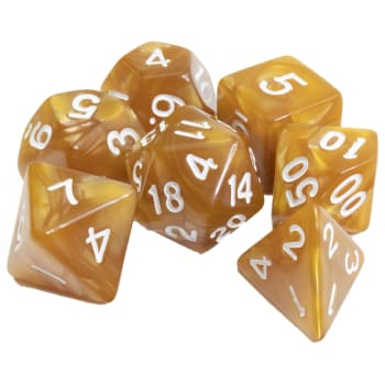 Poly 7 Dice Set: Marble - Gold w/ White