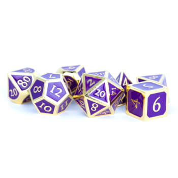 16mm d6 Metal Dice Set: Gold with Purple Enamel (6)