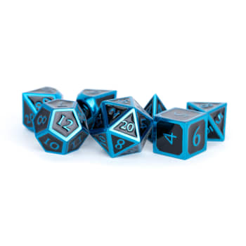 16mm d6 Metal Dice Set: Blue with Black Enamel (6)