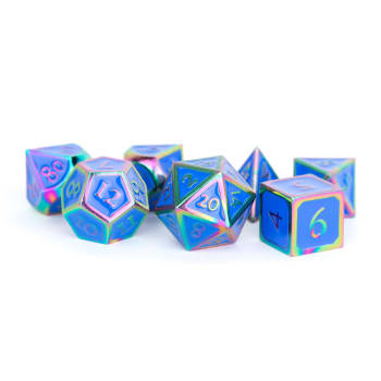 16mm d6 Metal Dice Set: Rainbow with Blue Enamel (6)