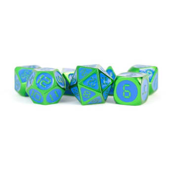 16mm d6 Metal Digital Dice Set: Green with Blue Enamel (7)