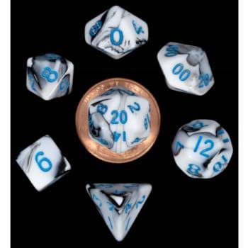 Poly 7 Dice Set: Mini Marble w/Blue