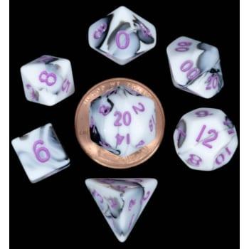 Poly 7 Dice Set: Mini Marble w/Purple