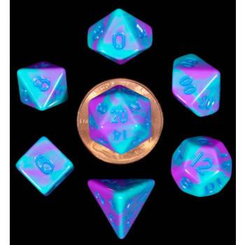 Poly 7 Dice Set: Mini Purple & Teal w/Blue