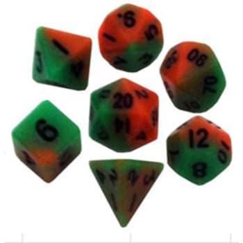 Poly 7 Dice Set: Mini Orange/Green w/Black