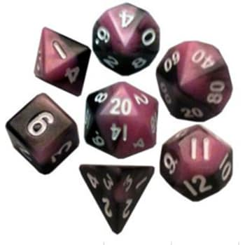 Poly 7 Dice Set: Mini Pink/Black w/White