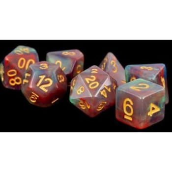 Poly 7 Dice Set: Resin Red Pearl Swirl