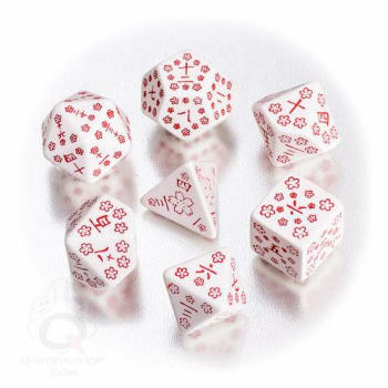 Poly 7 Dice Set: Japanese - White/Red