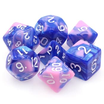 Poly 7 Dice Set: Triton's Scales - Blue/Pink Fusion