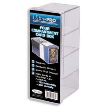 Deck Box - Four Compartment Plastic Card Box (Clear)