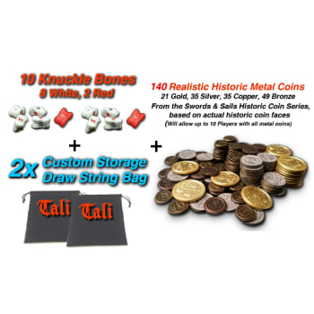 Role Play Master Pack TALI 10 Knuckle Bone Dice Only (2 Red) + 140 Historic Metal Coins
