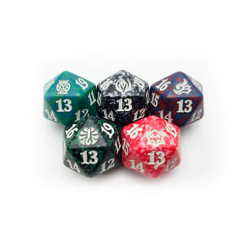 Strixhaven D20 Spindown Life Counter Set of 5 House Dice