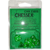 Poly 7 Mini Dice Set: Translucent Green w/White Thumb Nail