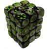 12mm d6 Dice Block: Gemini Black-Grey w/Green Thumb Nail