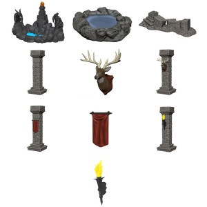 D&D Fantasy Miniatures: Terrain - Painted Pools & Pillars (Set 1)