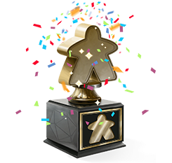 Gold meeple trophy with rainbow confetti