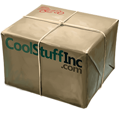 Cardboard box with CoolStuffInc.com printed on the side