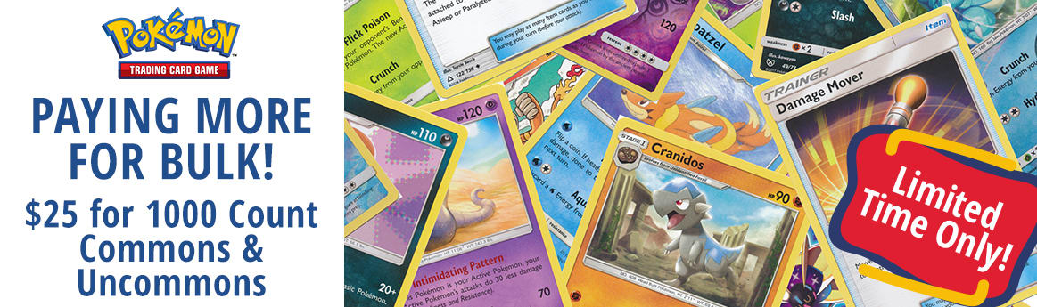 Now Paying $25 for Pokemon 1000 Count Common and Uncommon