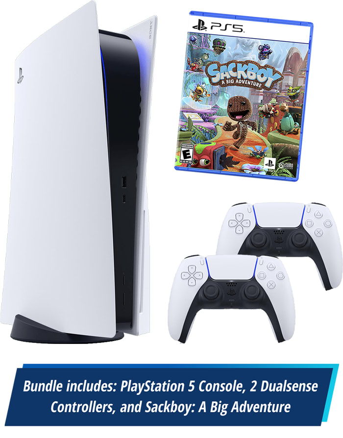 Bundle Includes: PlayStation 5, 2 Dualsense Controllers, and Sackbooy: A Big Adventure