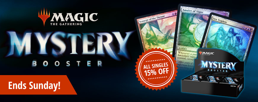 All Mystery Booster singles 15% off until Sunday