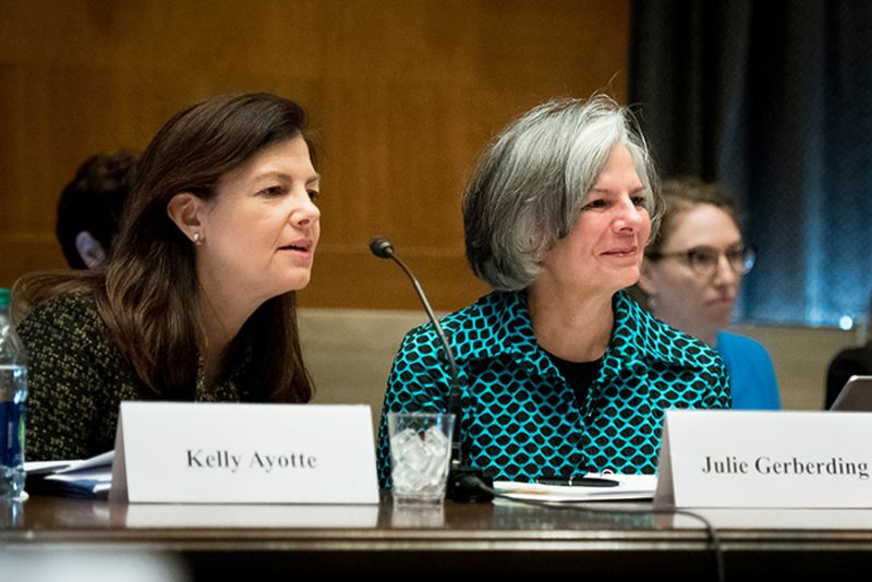Commission co-chairs Kelly Ayotte and Julie Gerberding at the April 17, 2018 Commission launch.